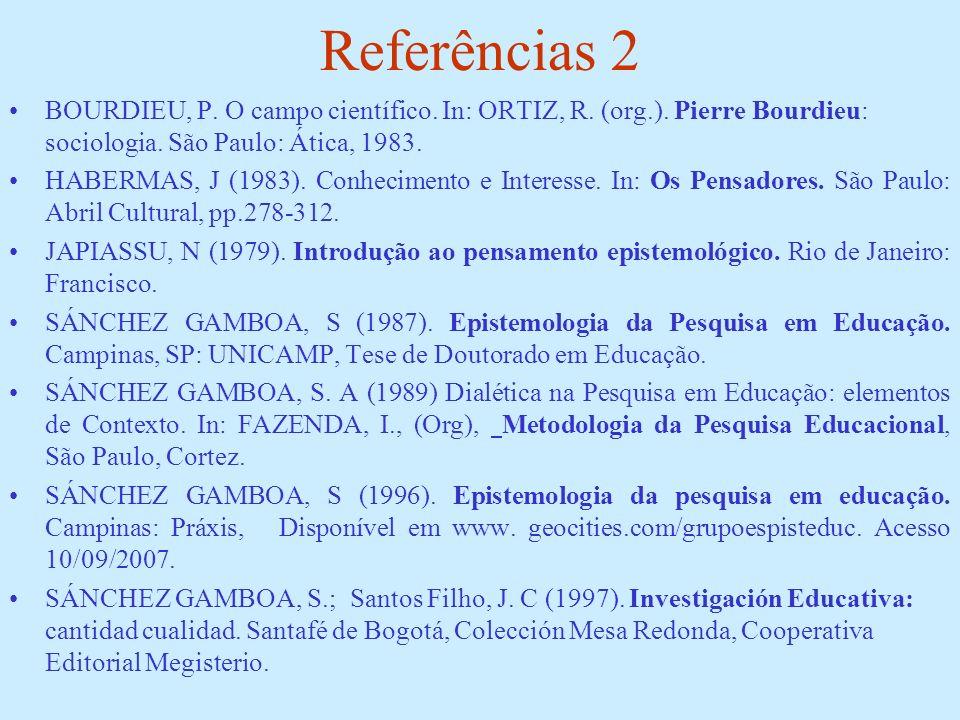 Referências 2 BOURDIEU, P. O campo científico. In: ORTIZ, R. (org.). Pierre Bourdieu: sociologia. São Paulo: Ática, 1983. HABERMAS, J (1983). Conhecim