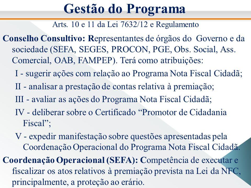 Gestão do Programa Conselho Consultivo: Representantes de órgãos do Governo e da sociedade (SEFA, SEGES, PROCON, PGE, Obs.