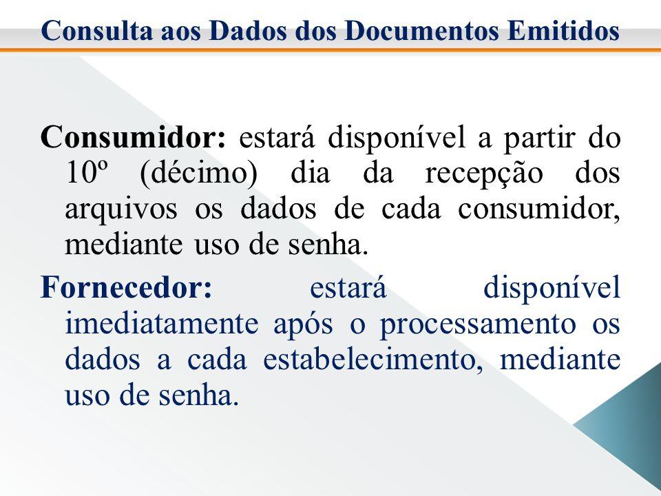 Consulta aos Dados dos Documentos Emitidos Consumidor: estará disponível a partir do 10º (décimo) dia da recepção dos arquivos os dados de cada consumidor, mediante uso de senha.