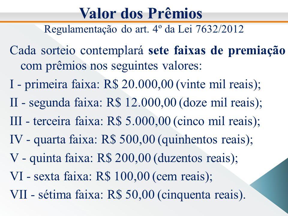 Valor dos Prêmios Cada sorteio contemplará sete faixas de premiação com prêmios nos seguintes valores: I - primeira faixa: R$ 20.000,00 (vinte mil reais); II - segunda faixa: R$ 12.000,00 (doze mil reais); III - terceira faixa: R$ 5.000,00 (cinco mil reais); IV - quarta faixa: R$ 500,00 (quinhentos reais); V - quinta faixa: R$ 200,00 (duzentos reais); VI - sexta faixa: R$ 100,00 (cem reais); VII - sétima faixa: R$ 50,00 (cinquenta reais).