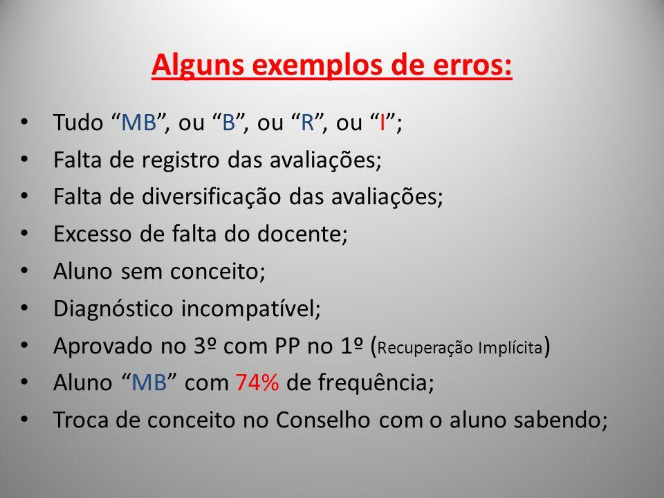 Alguns exemplos de erros: Tudo MB, ou B, ou R, ou I; Falta de registro das avaliações; Falta de diversificação das avaliações; Excesso de falta do doc