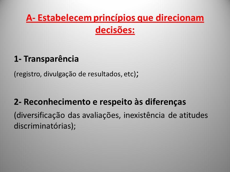 A- Estabelecem princípios que direcionam decisões: 1- Transparência (registro, divulgação de resultados, etc) ; 2- Reconhecimento e respeito às difere