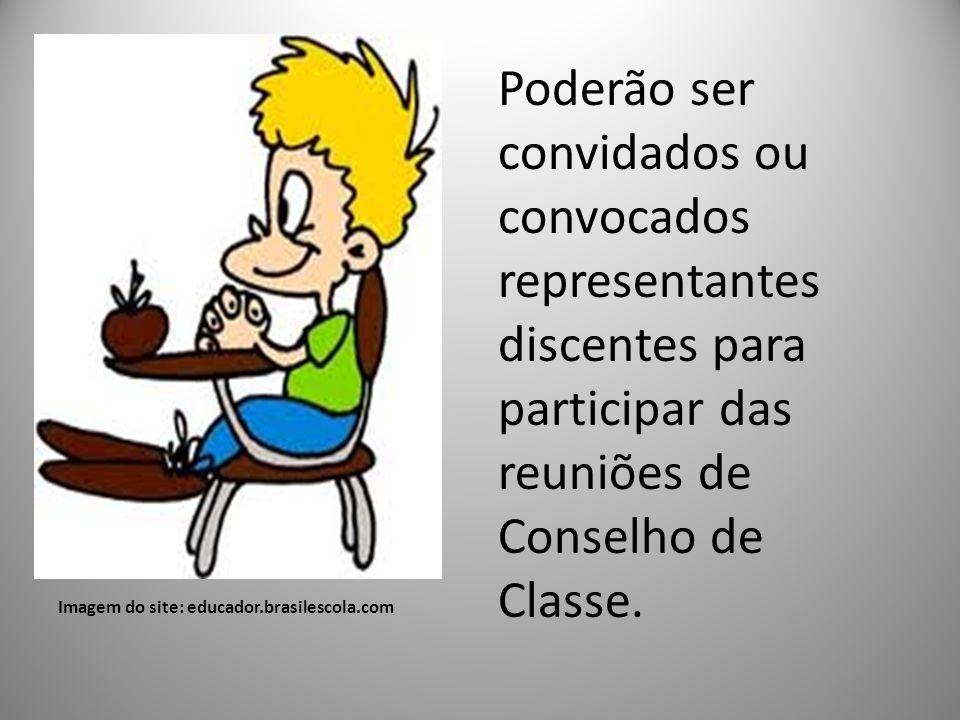 Imagem do site: educador.brasilescola.com Poderão ser convidados ou convocados representantes discentes para participar das reuniões de Conselho de Cl
