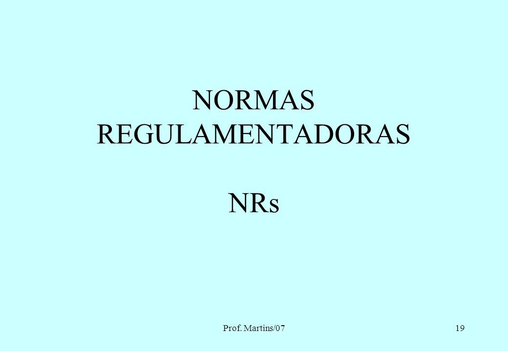 Prof. Martins/0718 Normas ABNT NBR 6533 – Estabelecimentos dos Efeitos da Corrente Elétrica do Corpo Humano NBR 5410 – Instalações Elétricas em Baixa