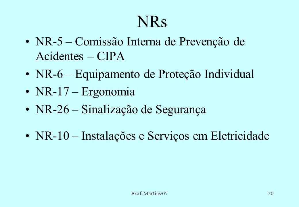 Prof. Martins/0719 NORMAS REGULAMENTADORAS NRs