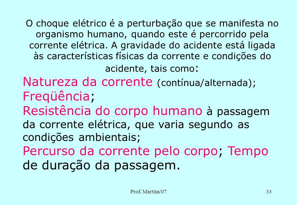 Prof. Martins/0732 CHOQUE ELÉTRICO E SUAS CONSEQÜÊNCIAS PARA O SER HUMANO - Contrações musculares, - fibrilação ventricular, - parada cardíaca, - quei
