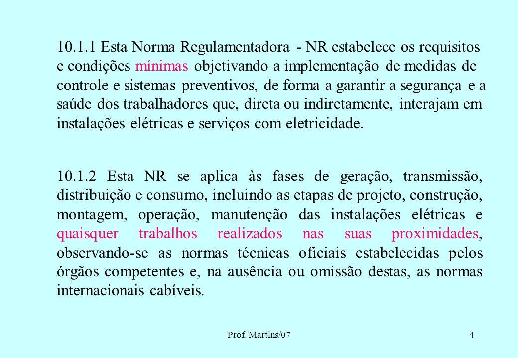 Prof. Martins/073 OBJETIVOS Capacitar participantes para prevenção em acidentes com eletricidade (atendendo NR-10) Atender exigências da NR-10, que es