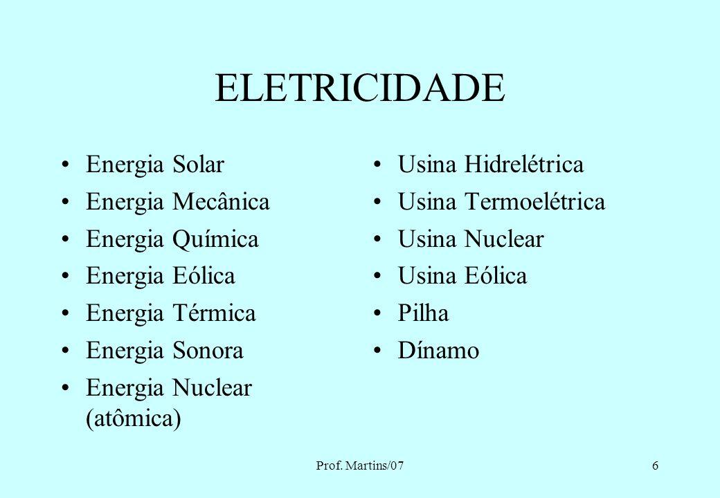 Prof. Martins/075 Introdução à segurança com eletricidade Eletricidade Sistema Elétrico Trabalho em instalações elétricas Acidentes no trabalho – seto