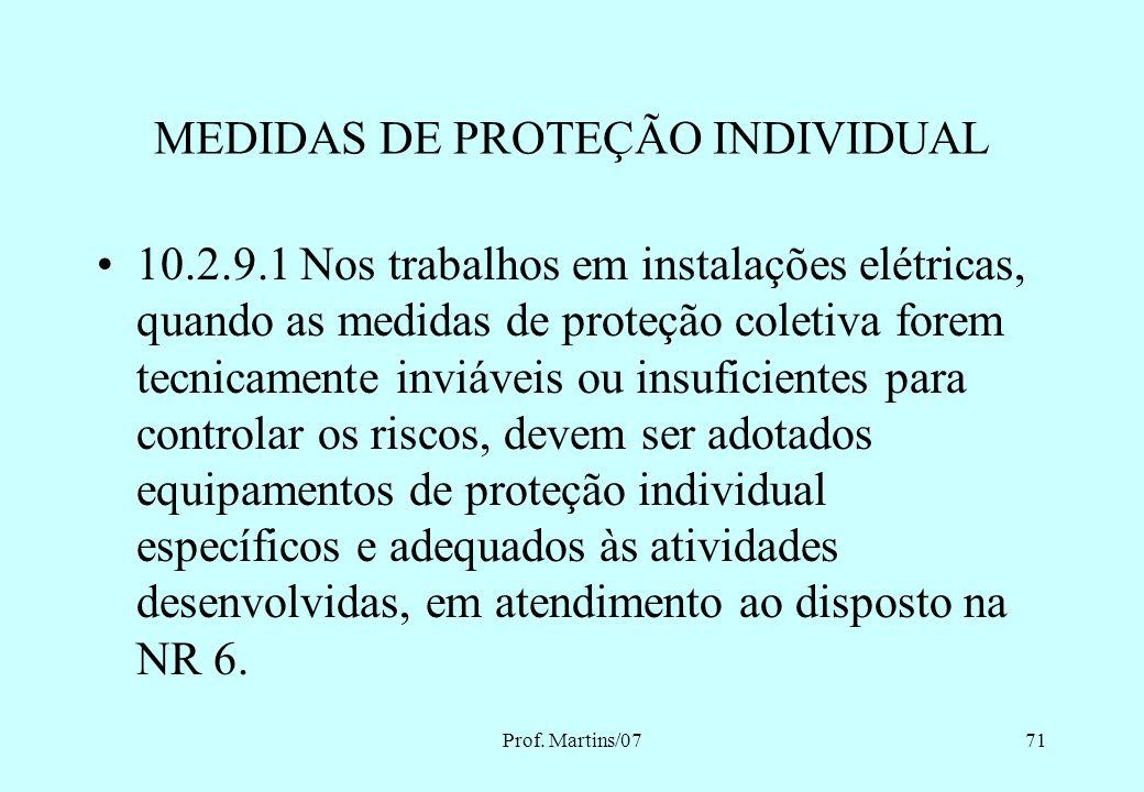 Prof. Martins/0770 MEDIDAS DE PROTEÇÃO INDIVIDUAL