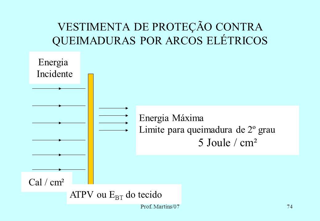 Prof. Martins/0773 VESTIMENTA DE PROTEÇÃO CONTRA QUEIMADURAS POR ARCOS ELÉTRICOS ARCO ELÉTRICO LIBERA CALOR RADIAÇÃO, CONVECÇÃO