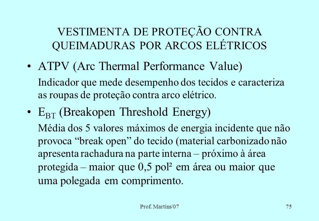 Prof. Martins/0774 VESTIMENTA DE PROTEÇÃO CONTRA QUEIMADURAS POR ARCOS ELÉTRICOS Energia Incidente Energia Máxima Limite para queimadura de 2º grau 5