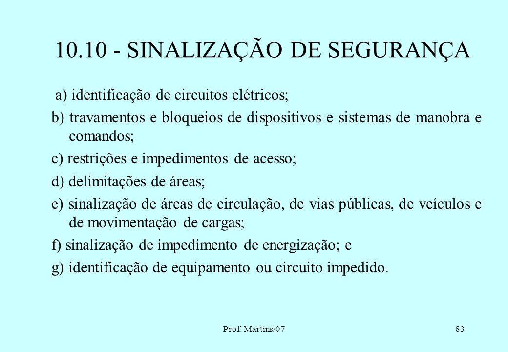 Prof. Martins/0782 10.10 - SINALIZAÇÃO DE SEGURANÇA 10.10.1 Nas instalações e serviços em eletricidade deve ser adotada sinalização adequada de segura