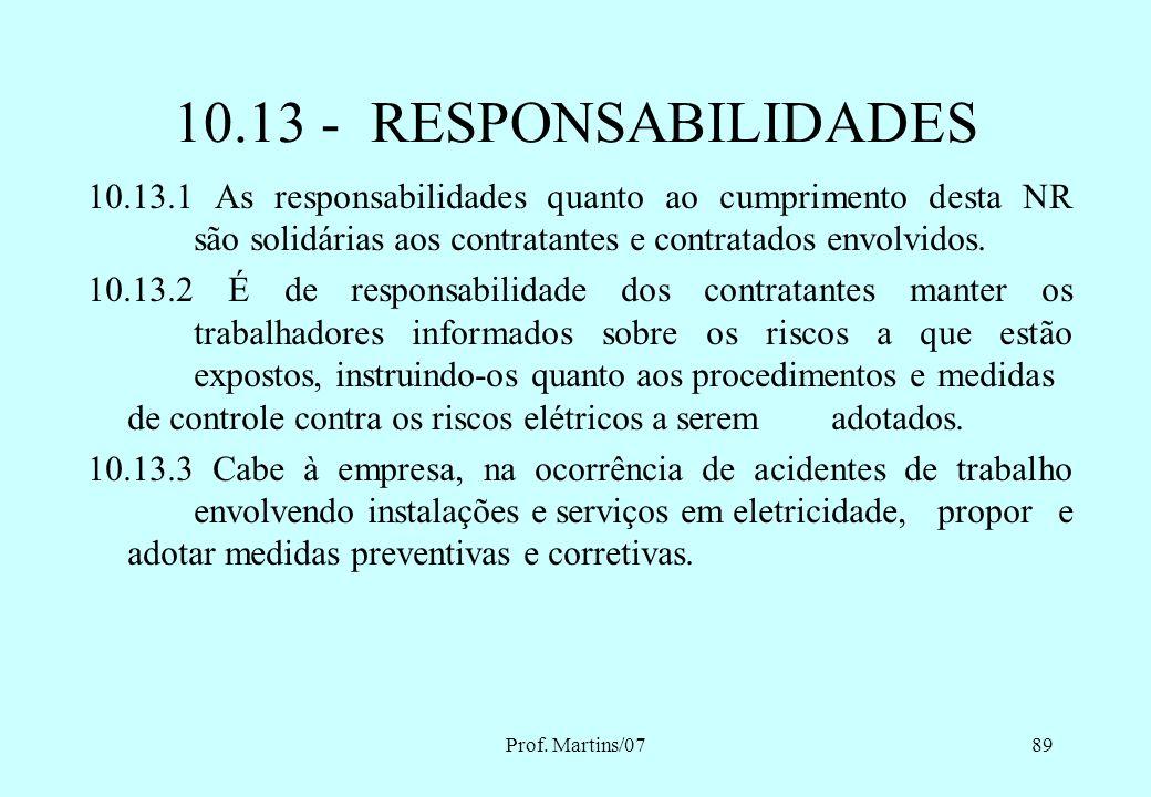 Prof. Martins/0788 10.7.8 Os equipamentos, ferramentas e dispositivos isolantes ou equipados com materiais isolantes, destinados ao trabalho em alta t