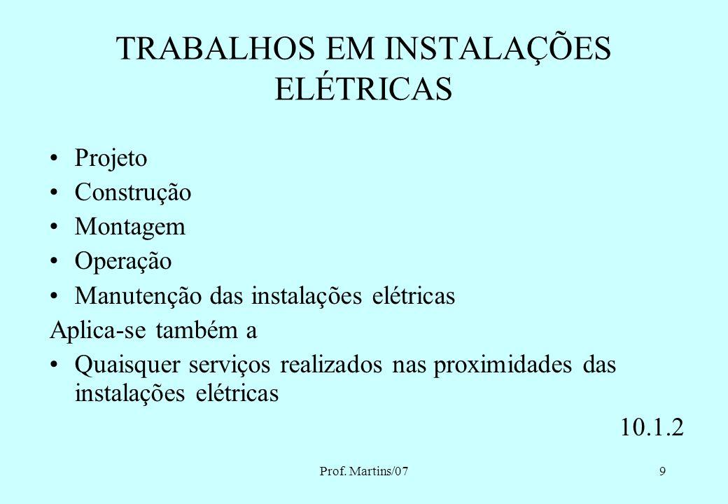 Prof. Martins/078 SISTEMA ELÉTRICO GERAÇÃO: Usinas – 13,8 KV – Itaipu; Ilha Solteira, Jupiá; Americana; etc. Subestação Elevadora TRASMISSÃO: Linhas /