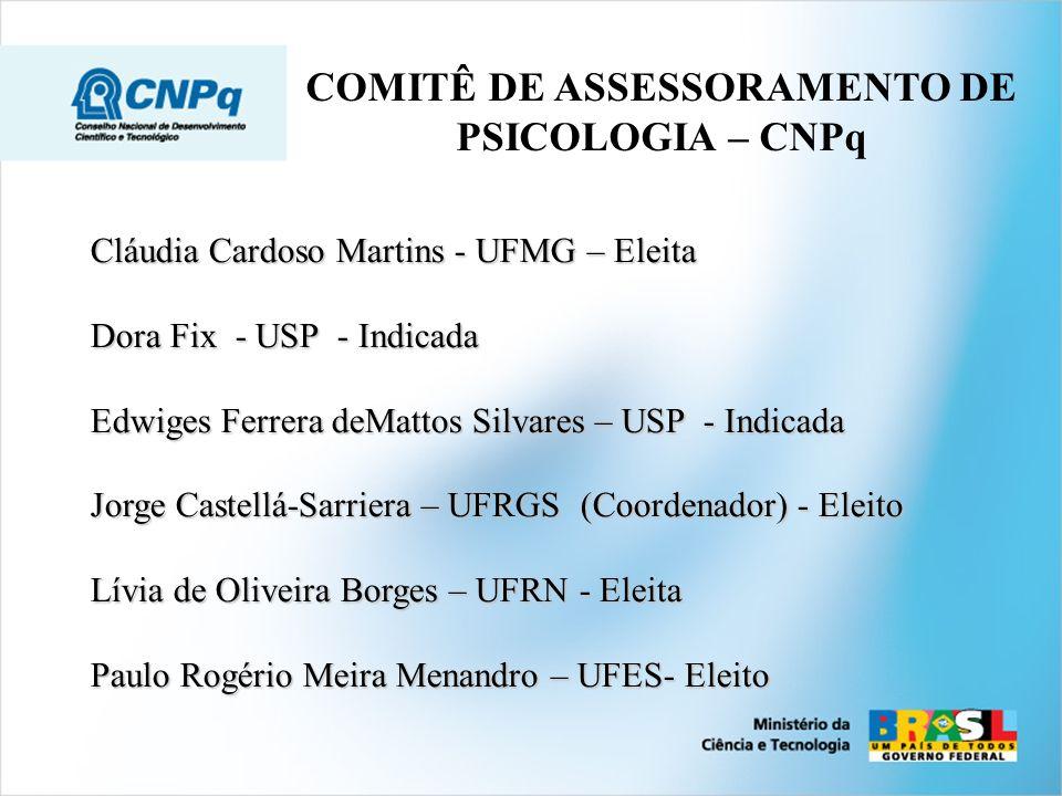 COMITÊ DE ASSESSORAMENTO DE PSICOLOGIA – CNPq Cláudia Cardoso Martins - UFMG – Eleita Dora Fix - USP - Indicada Edwiges Ferrera deMattos Silvares – US
