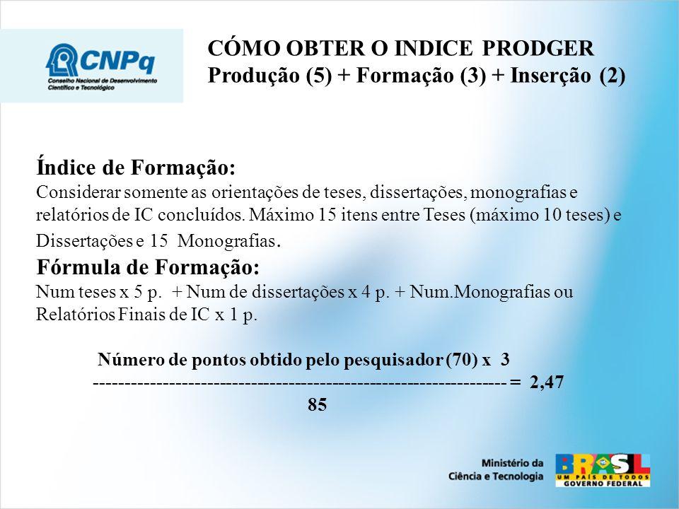 Índice de Formação: Considerar somente as orientações de teses, dissertações, monografias e relatórios de IC concluídos. Máximo 15 itens entre Teses (