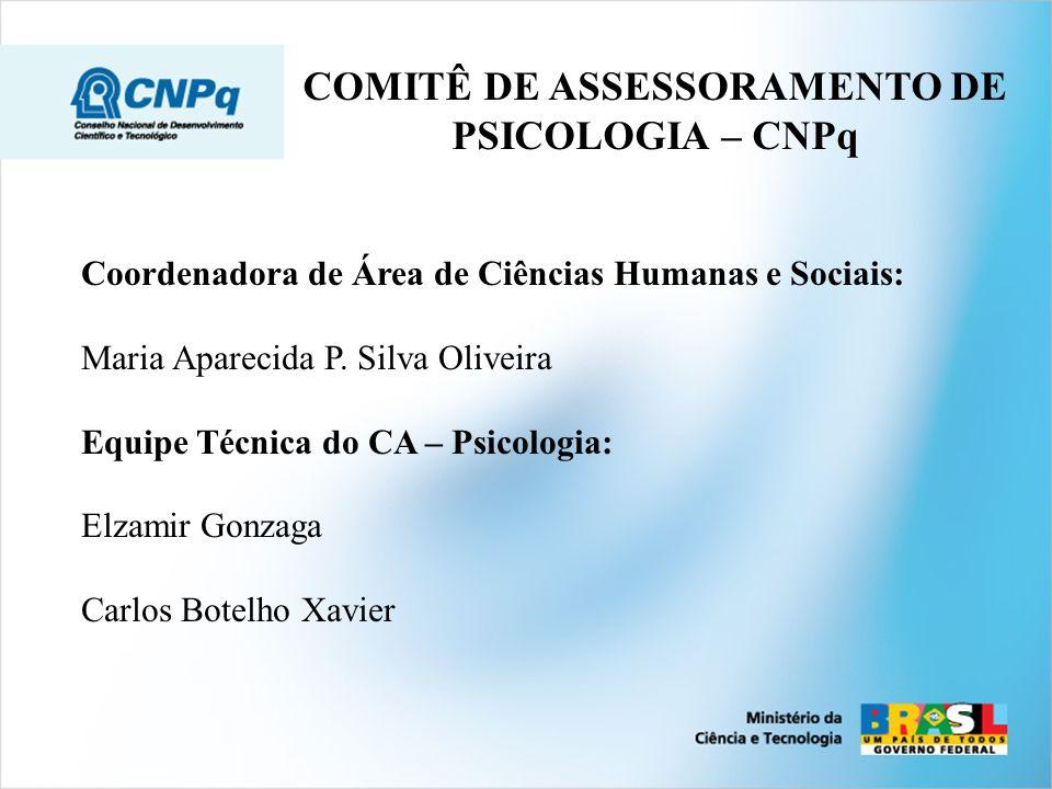 NÚMERO DE PESQUISADORES DA PSICOLOGIA DO CNPq.