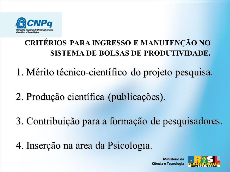 1. Mérito técnico-científico do projeto pesquisa. 2. Produção científica (publicações). 3. Contribuição para a formação de pesquisadores. 4.Inserção n