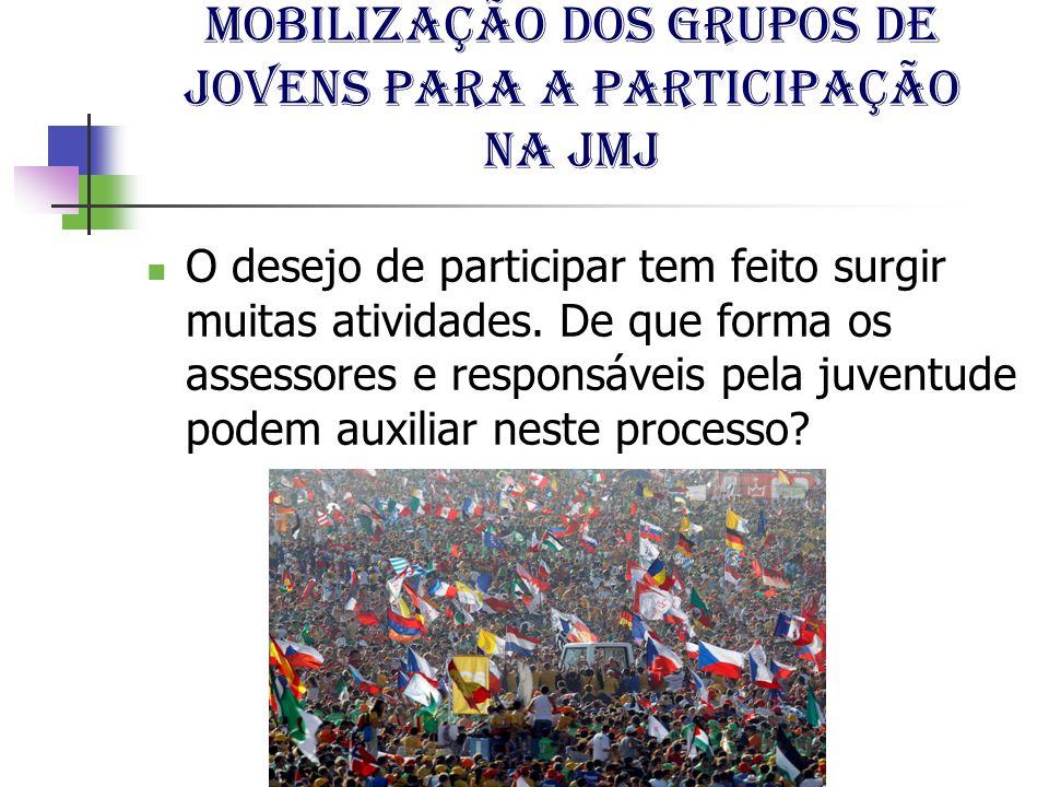 Mobilização dos grupos de jovens para a participação na jmj O desejo de participar tem feito surgir muitas atividades. De que forma os assessores e re