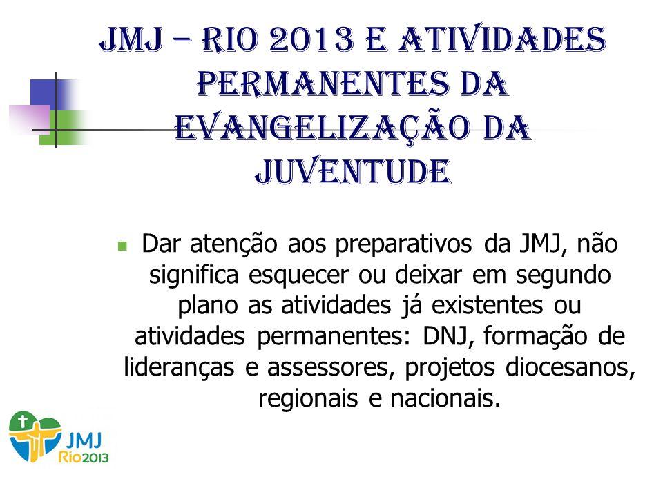 JMJ – Rio 2013 e Atividades permanentes da evangelização da juventude Dar atenção aos preparativos da JMJ, não significa esquecer ou deixar em segundo