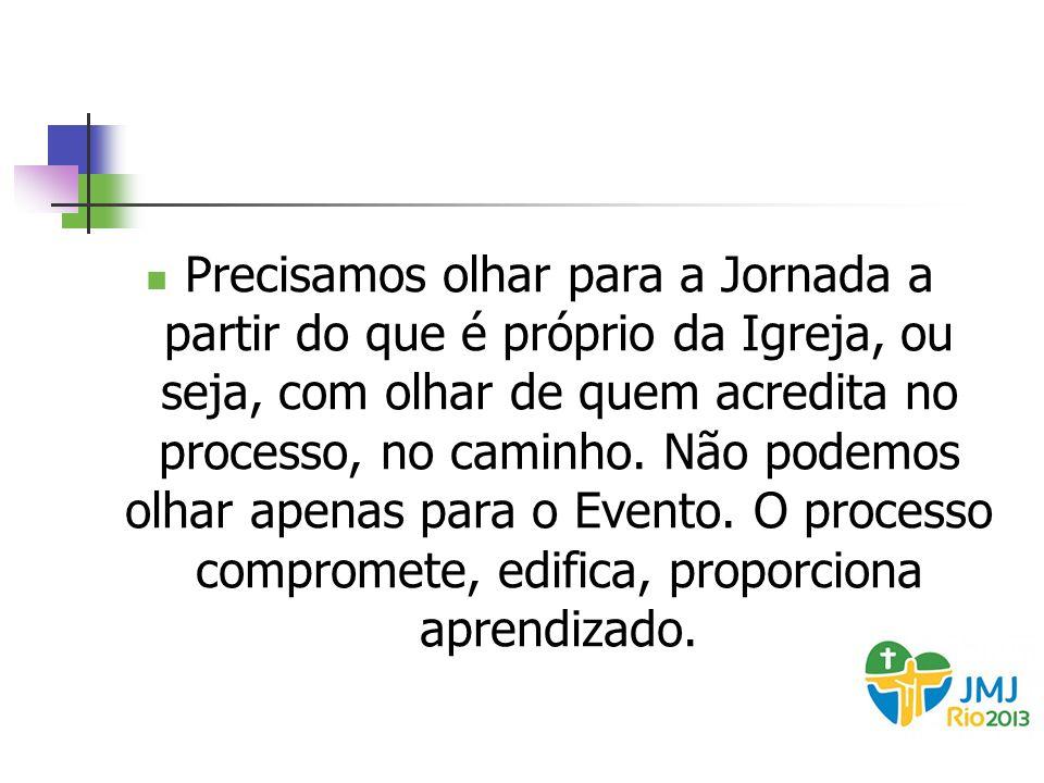 A Jornada não acontecerá apenas em julho de 2013 A Jornada já teve início no dia 21 de agosto de 2011, quando o Papa Bento XVI, em Madri, anunciou oficialmente que o Brasil seria a sede da próxima edição da JMJ.