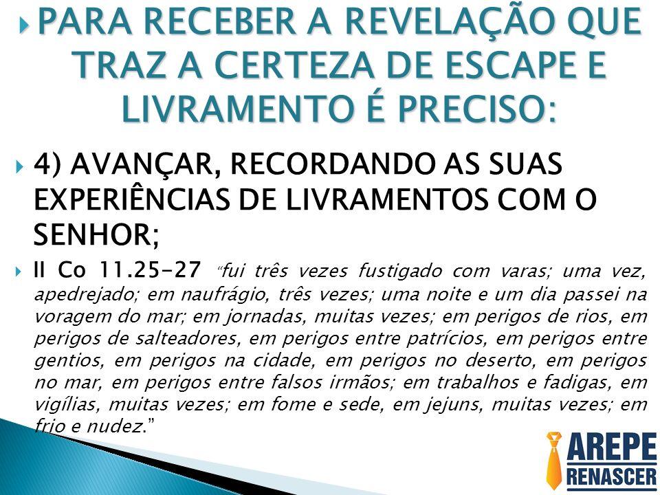 PARA RECEBER A REVELAÇÃO QUE TRAZ A CERTEZA DE ESCAPE E LIVRAMENTO É PRECISO: PARA RECEBER A REVELAÇÃO QUE TRAZ A CERTEZA DE ESCAPE E LIVRAMENTO É PRE