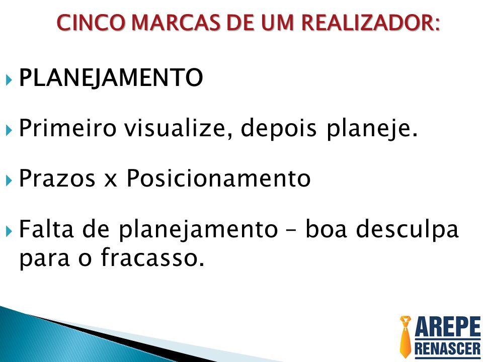 CINCO MARCAS DE UM REALIZADOR: CINCO MARCAS DE UM REALIZADOR: PLANEJAMENTO Primeiro visualize, depois planeje. Prazos x Posicionamento Falta de planej
