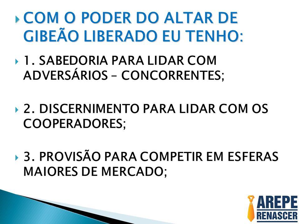 COM O PODER DO ALTAR DE GIBEÃO LIBERADO EU TENHO: COM O PODER DO ALTAR DE GIBEÃO LIBERADO EU TENHO: 1.