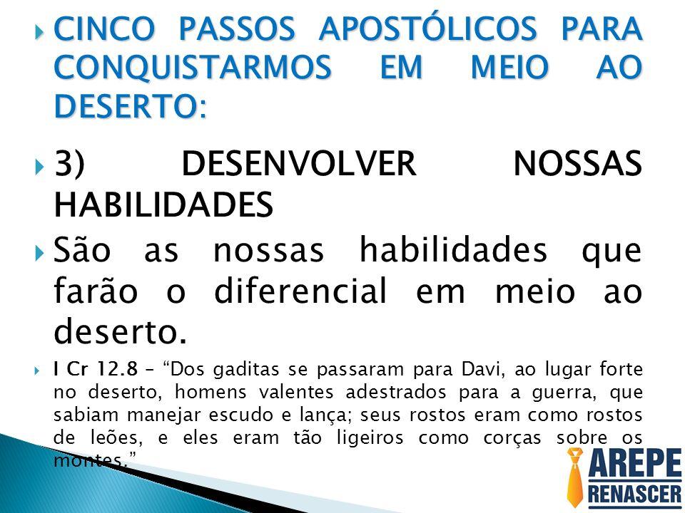 CINCO PASSOS APOSTÓLICOS PARA CONQUISTARMOS EM MEIO AO DESERTO: CINCO PASSOS APOSTÓLICOS PARA CONQUISTARMOS EM MEIO AO DESERTO: 3) DESENVOLVER NOSSAS