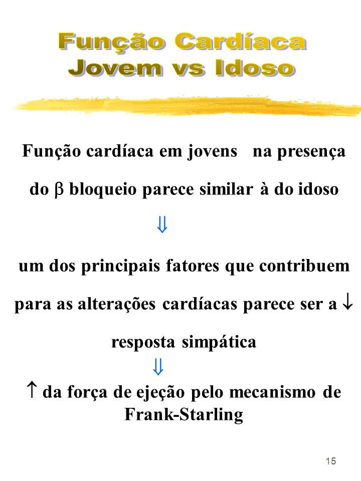 15 Função cardíaca em jovens na presença do bloqueio parece similar à do idoso um dos principais fatores que contribuem para as alterações cardíacas p
