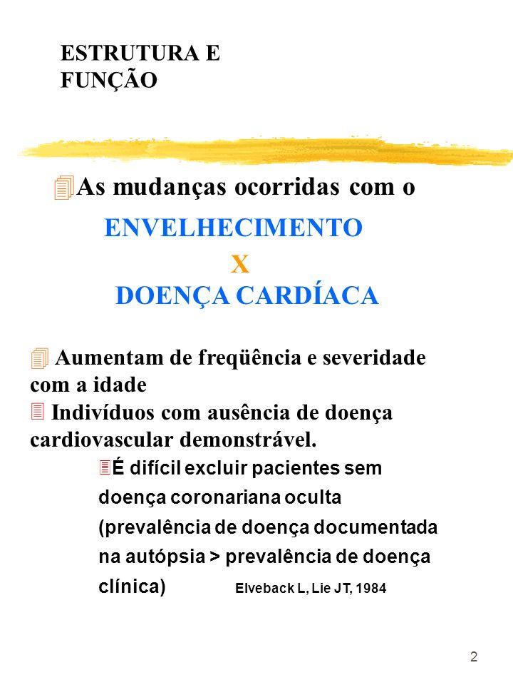 2 4As mudanças ocorridas com o ENVELHECIMENTO X DOENÇA CARDÍACA 4 Aumentam de freqüência e severidade com a idade 3 Indivíduos com ausência de doença