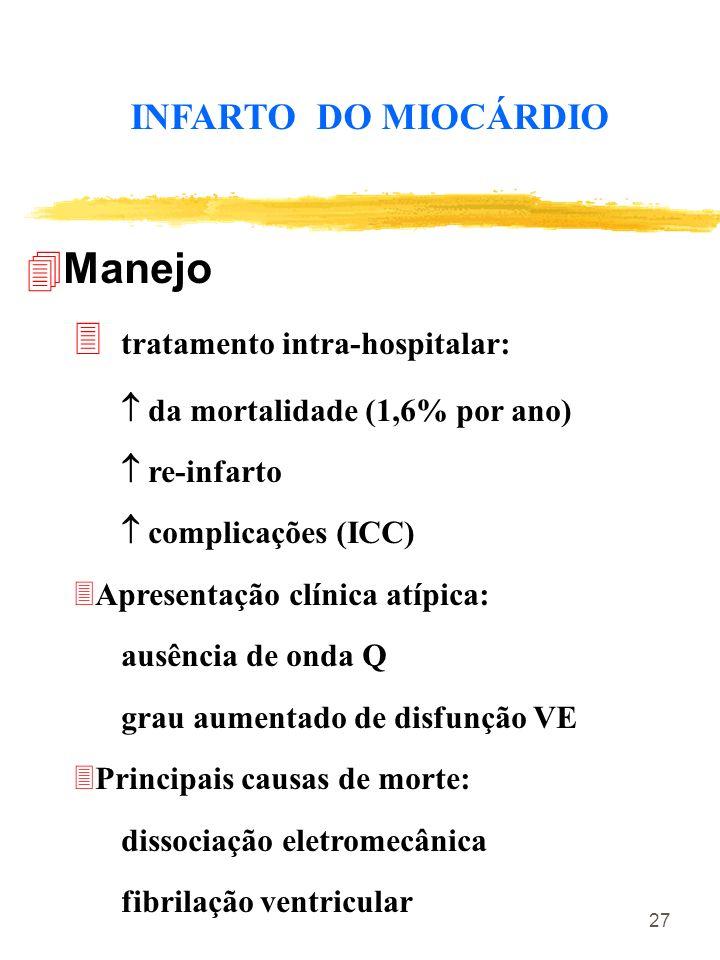 27 INFARTO DO MIOCÁRDIO 4Manejo tratamento intra-hospitalar: da mortalidade (1,6% por ano) re-infarto complicações (ICC) 3Apresentação clínica atípica
