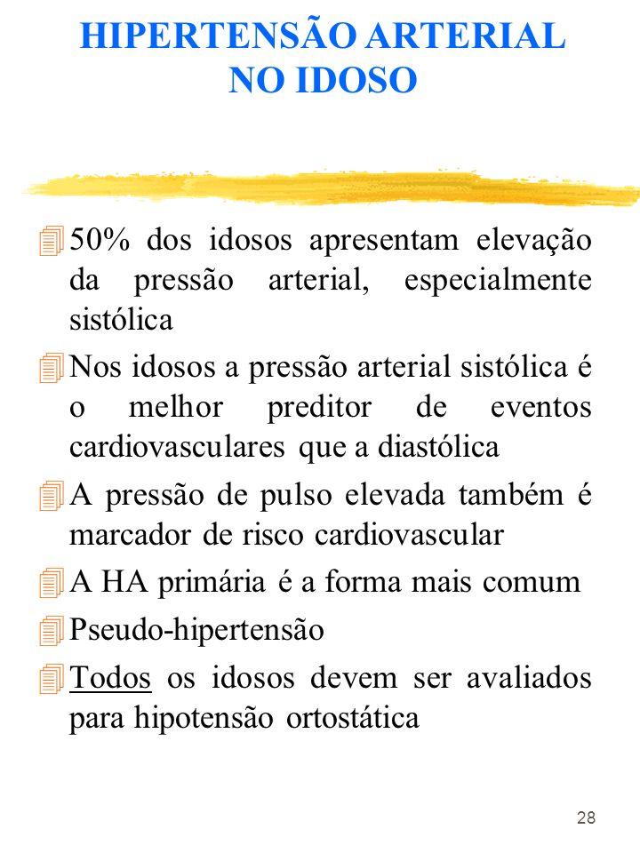 28 HIPERTENSÃO ARTERIAL NO IDOSO 450% dos idosos apresentam elevação da pressão arterial, especialmente sistólica 4Nos idosos a pressão arterial sistó