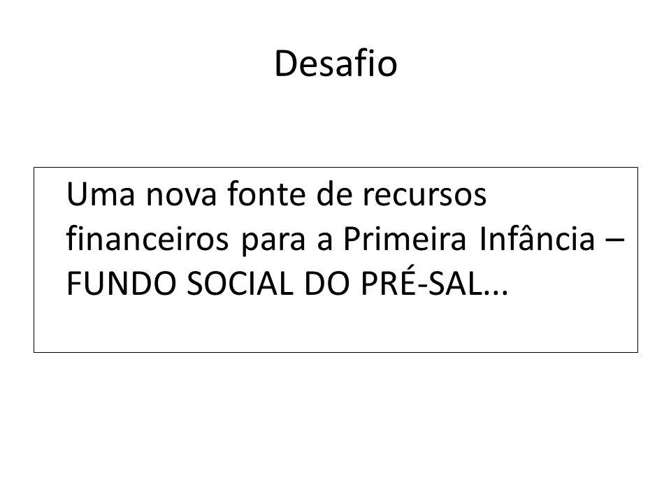 Desafio Uma nova fonte de recursos financeiros para a Primeira Infância – FUNDO SOCIAL DO PRÉ-SAL...