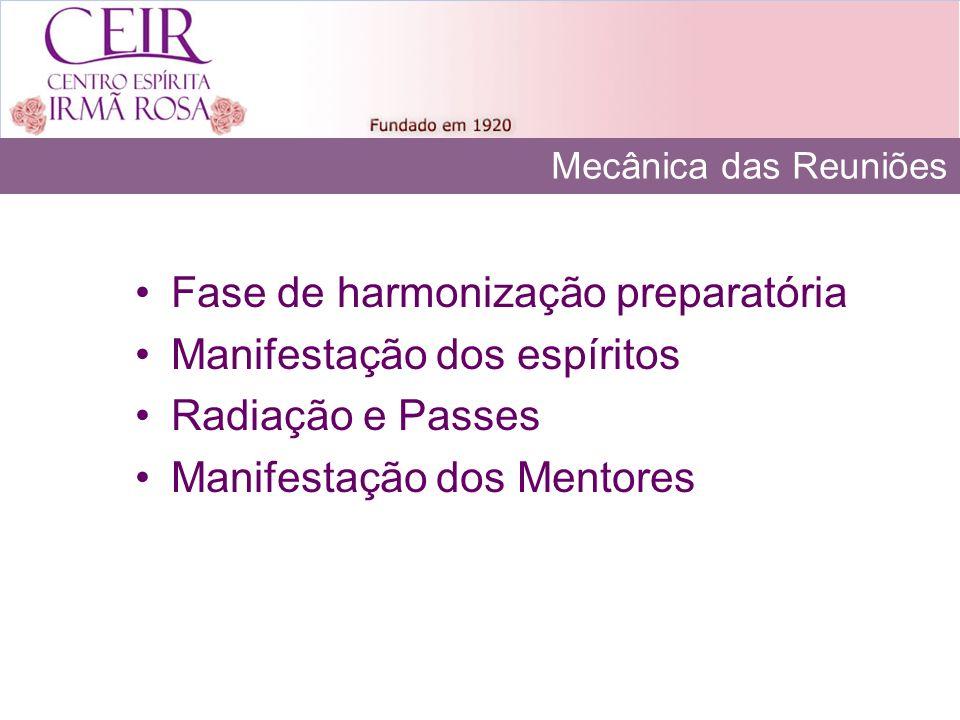 Mecânica das Reuniões Fase de harmonização preparatória Manifestação dos espíritos Radiação e Passes Manifestação dos Mentores
