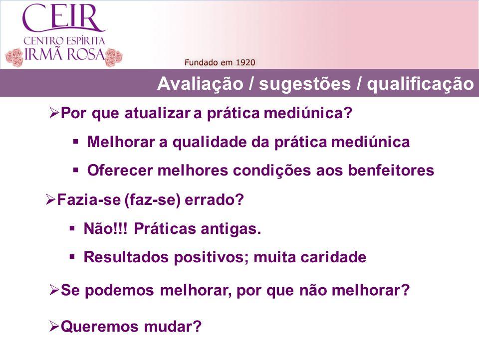 Avaliação / sugestões / qualificação Por que atualizar a prática mediúnica? Melhorar a qualidade da prática mediúnica Oferecer melhores condições aos