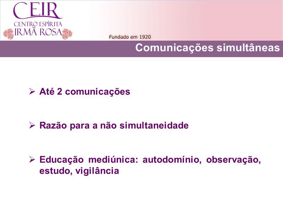 Comunicações simultâneas Até 2 comunicações Razão para a não simultaneidade Educação mediúnica: autodomínio, observação, estudo, vigilância
