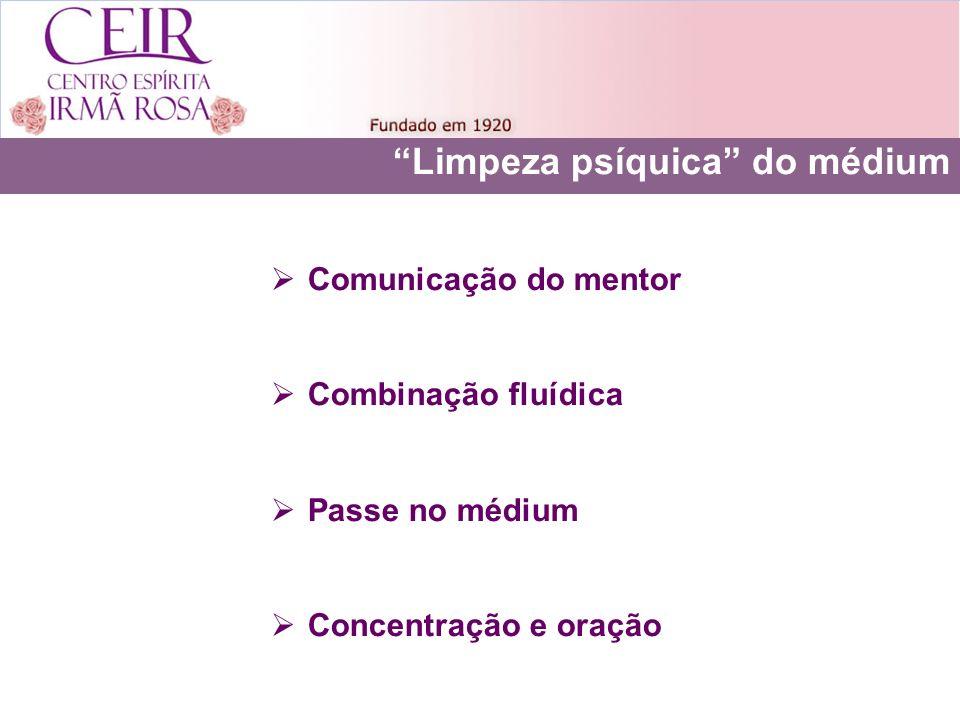 Limpeza psíquica do médium Comunicação do mentor Combinação fluídica Passe no médium Concentração e oração