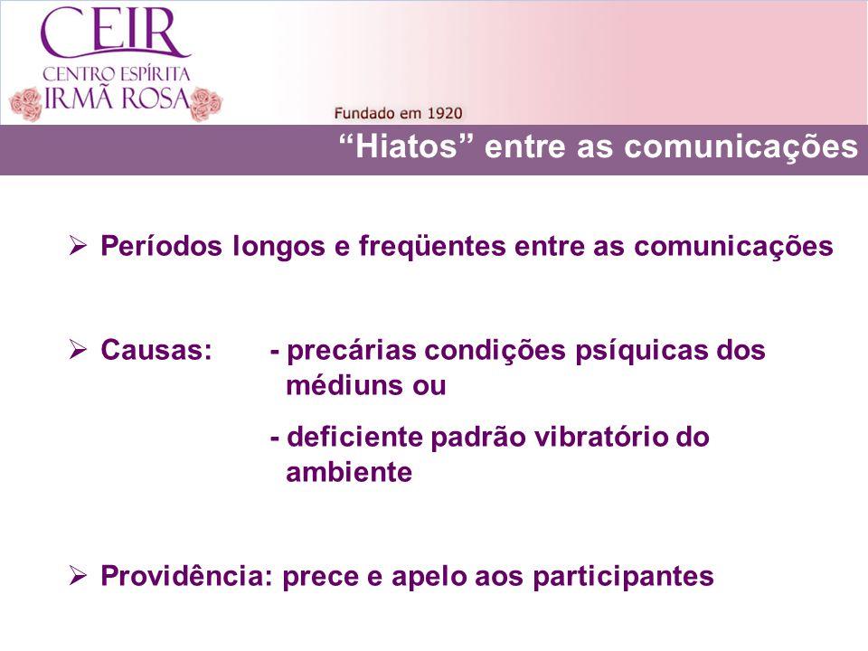Hiatos entre as comunicações Períodos longos e freqüentes entre as comunicações Causas: - precárias condições psíquicas dos médiuns ou - deficiente pa
