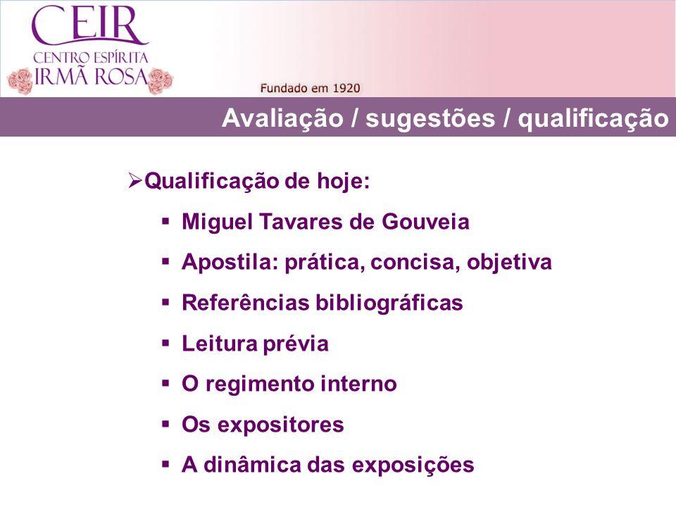 Avaliação / sugestões / qualificação Qualificação de hoje: Miguel Tavares de Gouveia Apostila: prática, concisa, objetiva Referências bibliográficas L