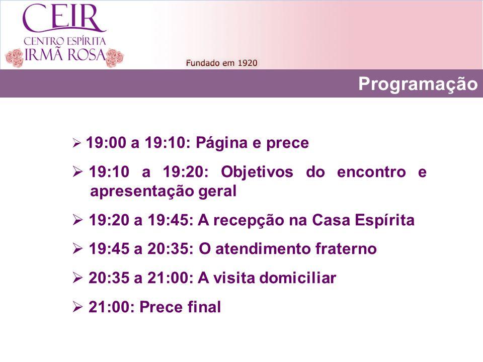 Programação 19:00 a 19:10: Página e prece 19:10 a 19:20: Objetivos do encontro e apresentação geral 19:20 a 19:45: A recepção na Casa Espírita 19:45 a