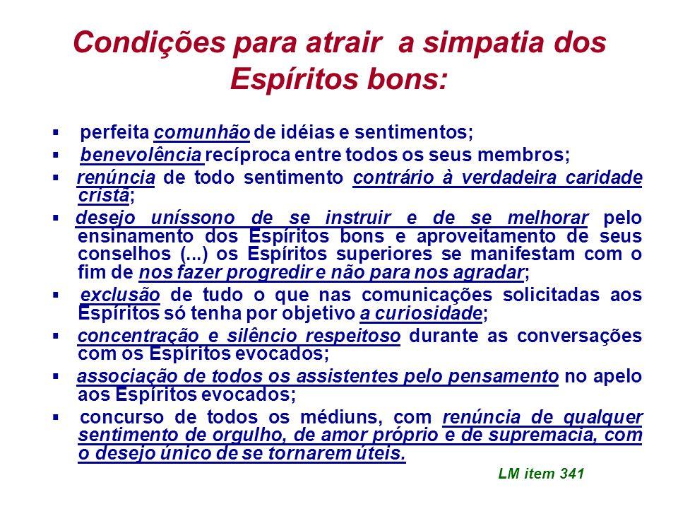 Condições para atrair a simpatia dos Espíritos bons: perfeita comunhão de idéias e sentimentos; benevolência recíproca entre todos os seus membros; re