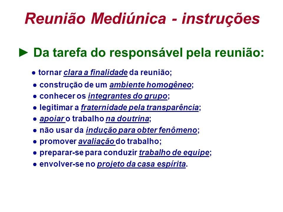Reunião Mediúnica - instruções Da tarefa do responsável pela reunião: tornar clara a finalidade da reunião; construção de um ambiente homogêneo; conhe