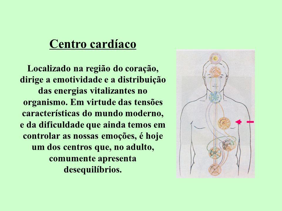 Centro cardíaco Localizado na região do coração, dirige a emotividade e a distribuição das energias vitalizantes no organismo. Em virtude das tensões