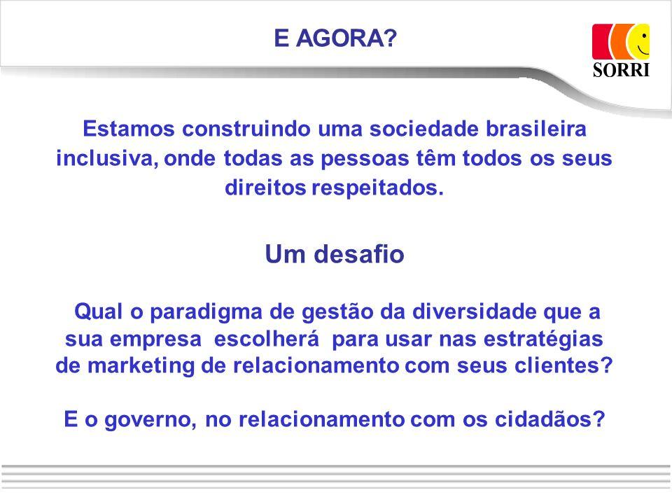 E AGORA? Estamos construindo uma sociedade brasileira inclusiva, onde todas as pessoas têm todos os seus direitos respeitados. Um desafio Qual o parad