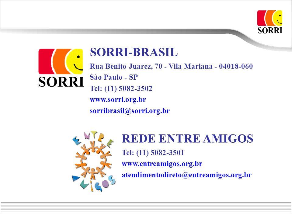 SORRI-BRASIL Rua Benito Juarez, 70 - Vila Mariana - 04018-060 São Paulo - SP Tel: (11) 5082-3502 www.sorri.org.br sorribrasil@sorri.org.br REDE ENTRE