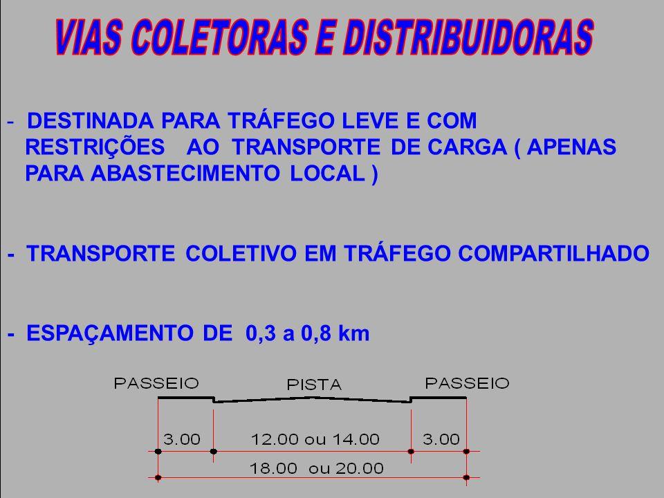 - DESTINADA PARA TRÁFEGO LEVE E COM RESTRIÇÕES AO TRANSPORTE DE CARGA ( APENAS PARA ABASTECIMENTO LOCAL ) - TRANSPORTE COLETIVO EM TRÁFEGO COMPARTILHA