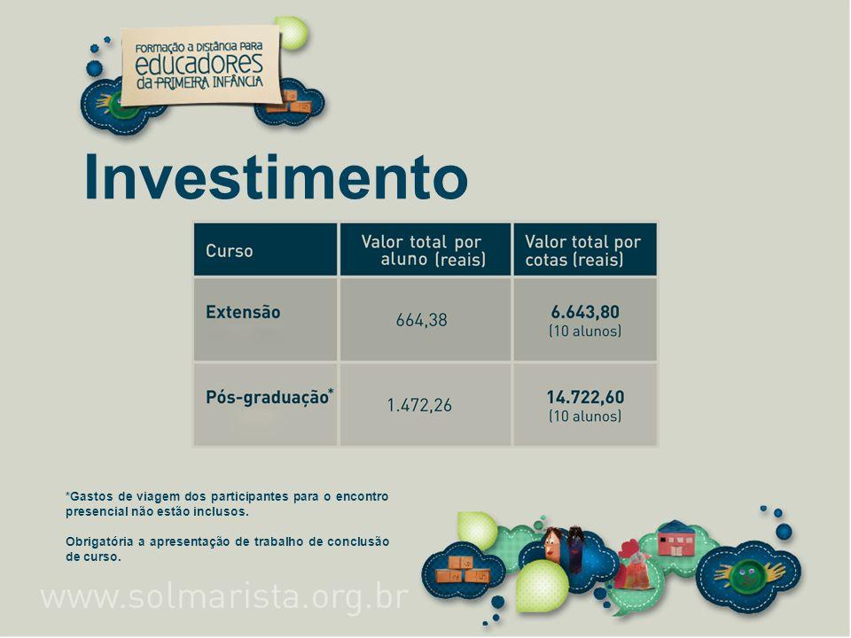 Investimento *Gastos de viagem dos participantes para o encontro presencial não estão inclusos. Obrigatória a apresentação de trabalho de conclusão de