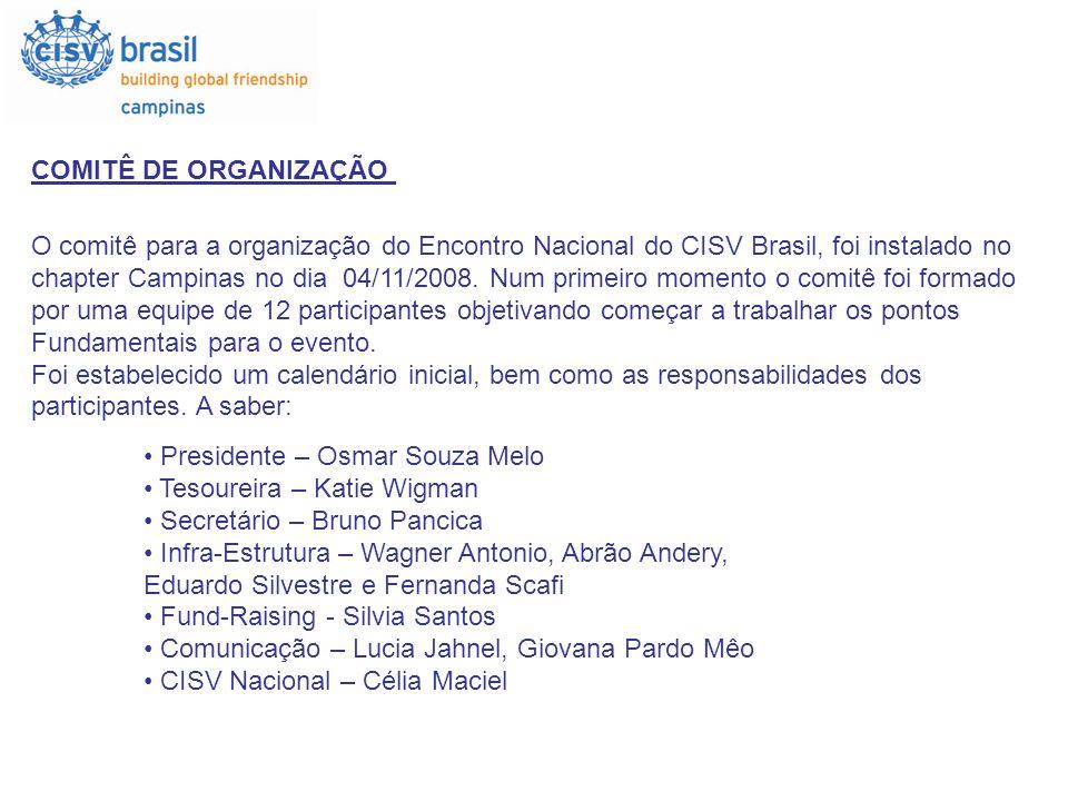 COMITÊ DE ORGANIZAÇÃO Presidente – Osmar Souza Melo Tesoureira – Katie Wigman Secretário – Bruno Pancica Infra-Estrutura – Wagner Antonio, Abrão Ander