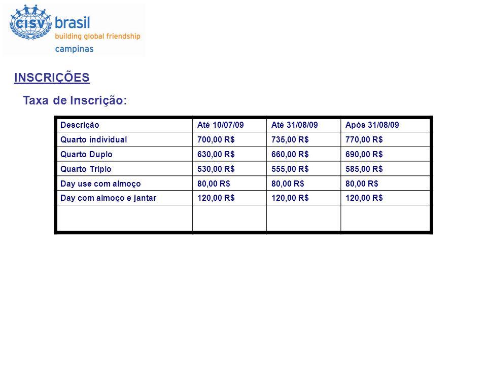 INSCRIÇÕES Taxa de Inscrição: DescriçãoAté 10/07/09Até 31/08/09Após 31/08/09 Quarto individual700,00 R$735,00 R$770,00 R$ Quarto Duplo630,00 R$660,00